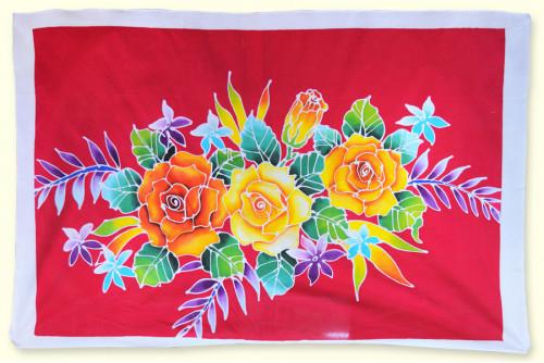 ผ้าเช็ดหน้าบาติก ลายดอกไม้